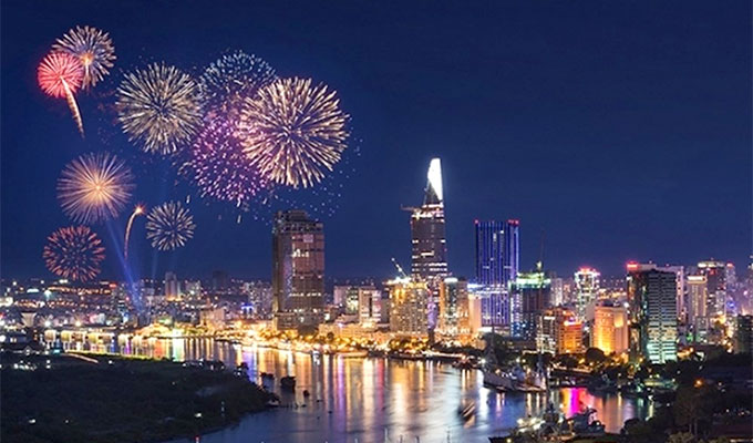 Fireworks display in Ho Chi Minh city on April 30th